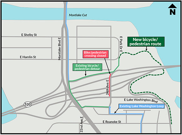 A map of Montlake. There are many bike routes labeled, including a new bicycle pedestrian route under 520 east of 24th.