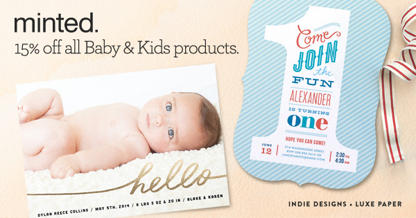 Baby & Kids Sale: 15% off all Minted`s Baby & Kids Products