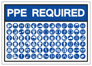 Image which says PPE required with images of PPE