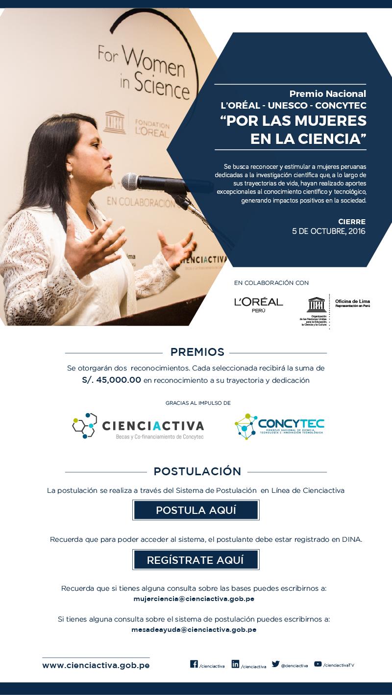 """Premio Nacional L'Oréal-UNESCO-CONCYTEC """"Por las Mujeres en la Ciencia"""""""