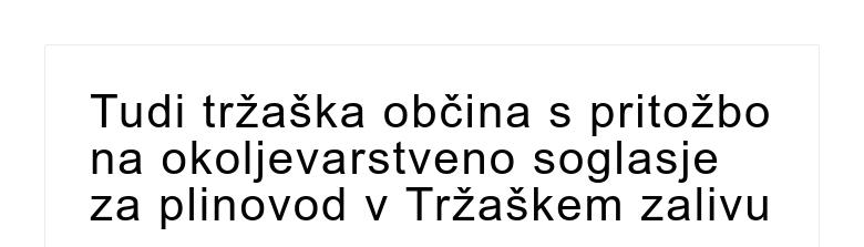 Tudi tržaška občina s pritožbo na okoljevarstveno soglasje za plinovod v Tržaškem zalivu