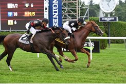 Voodoo Song wins the 2018 Fourstardave Handicap at Saratoga Race Course
