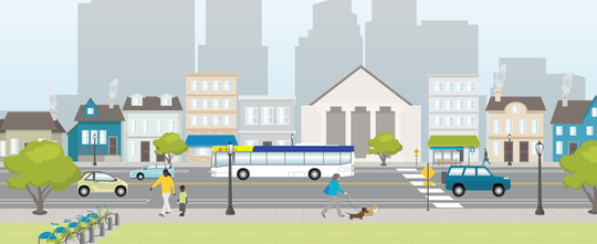 Transportation Action Plan 2018 image of walking, cycling, busing and driving.