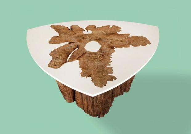 108 table plateau tronc d arbre pied de table m tallique - Table plateau tronc d arbre ...