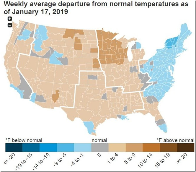 January 26 2019 temperature deviation for week ending January 17th