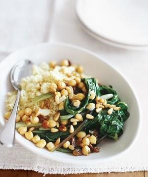 Swiss Chard with Chickpeas and Couscous