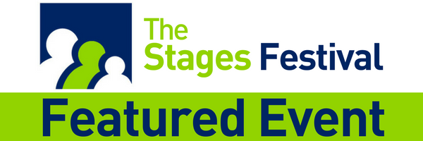 The Stages Festival blue and green logo featured event