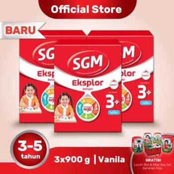 Buy 3 SGM Eksplor 3+ Vanila Susu Formula 900g + Free Collectible Launch Set