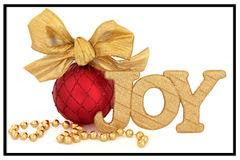 Joy-gold-red ornament