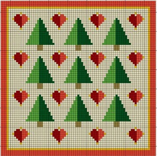 I used this pattern for the two tone trees. I will use the same pattern to make the two tone hearts next spring!