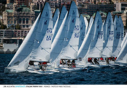 J/70s sailing off San Remo, Italy