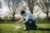 Prashant Rao with his DJI Phantom 3 drone in Battersea Park in London.