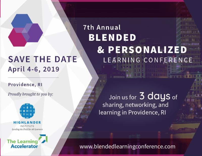 Graphic advertisement for the Blended and Personalized Learning Conference