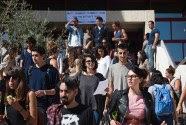 Israeli students seen at the campus of