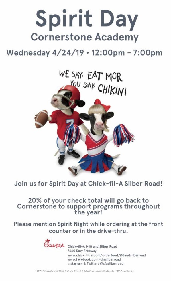 CSA Spirit Day at Chick-fil-A on Silber Road @ Chick-Fil-A Silber Road