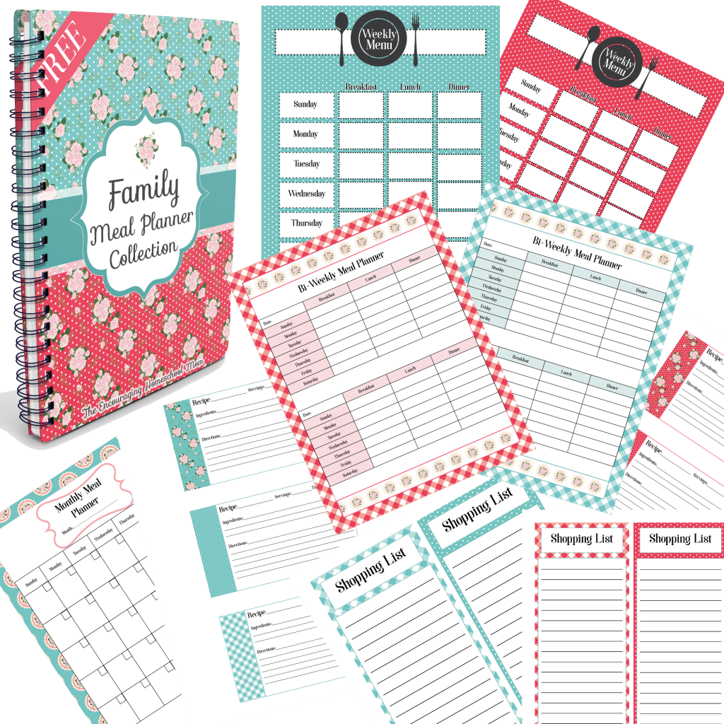Family Meal Planner Collection from The Encouraging Homeschool Mom Newsletter,