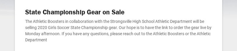 State Championship Gear on Sale The Athletic Boosters in collaboration with the Strongsville High...