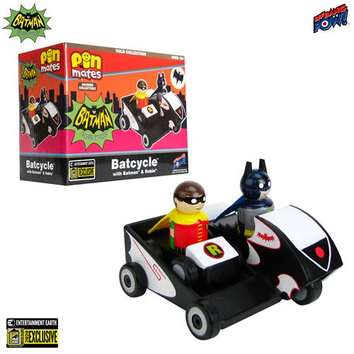 Batman Classic TV Series Batcycle with Batman and Robin Wooden Collectible Pin Mates Set - Convention Exclusive