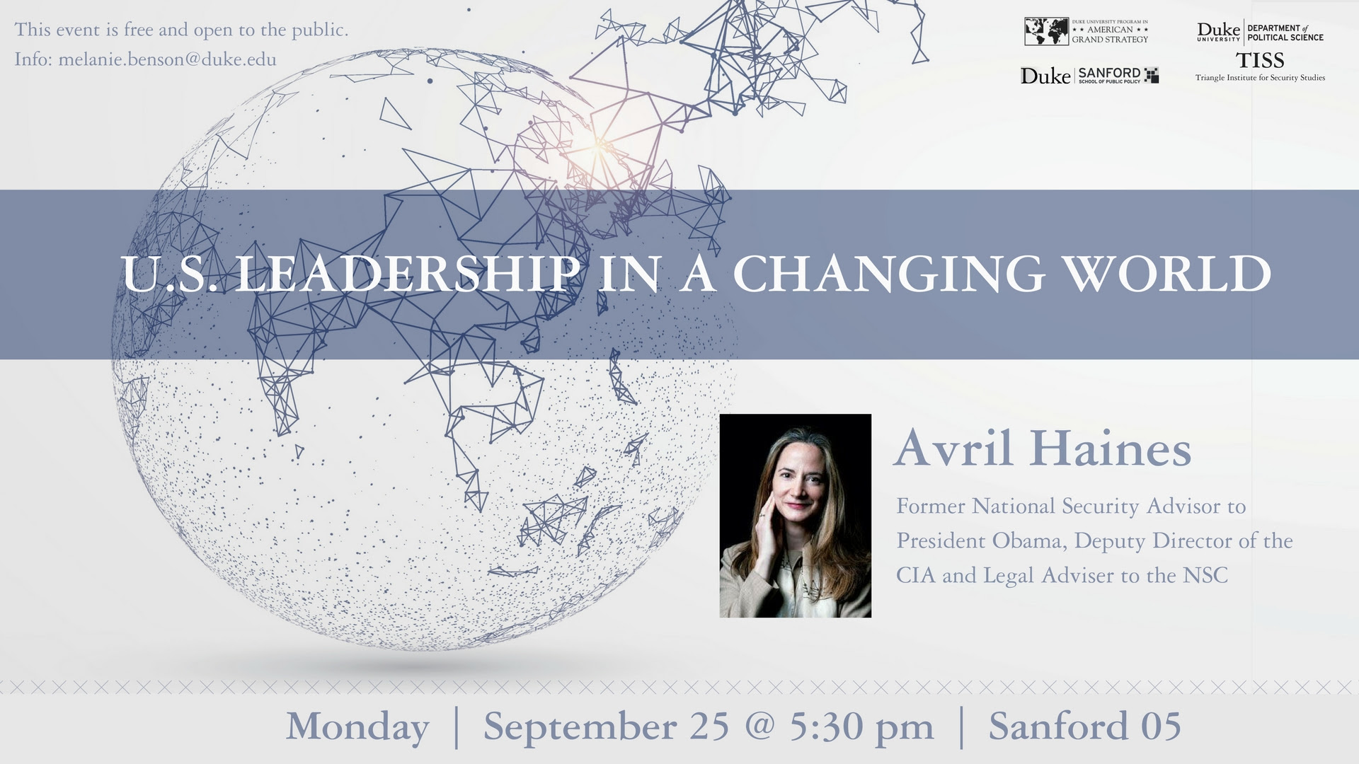 US Leadership in a Changing World: A Conversation with Avril Haines @ Sanford School of Public Policy - Room 05 | Durham | North Carolina | United States