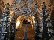 Aside from the pyramids, the site also has a chandelier, a coat of arms and various other decorations made from every bone in the human body.