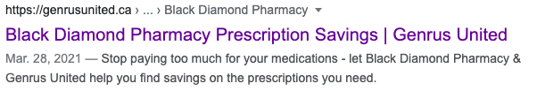 SERP example for black diamond pharmacy