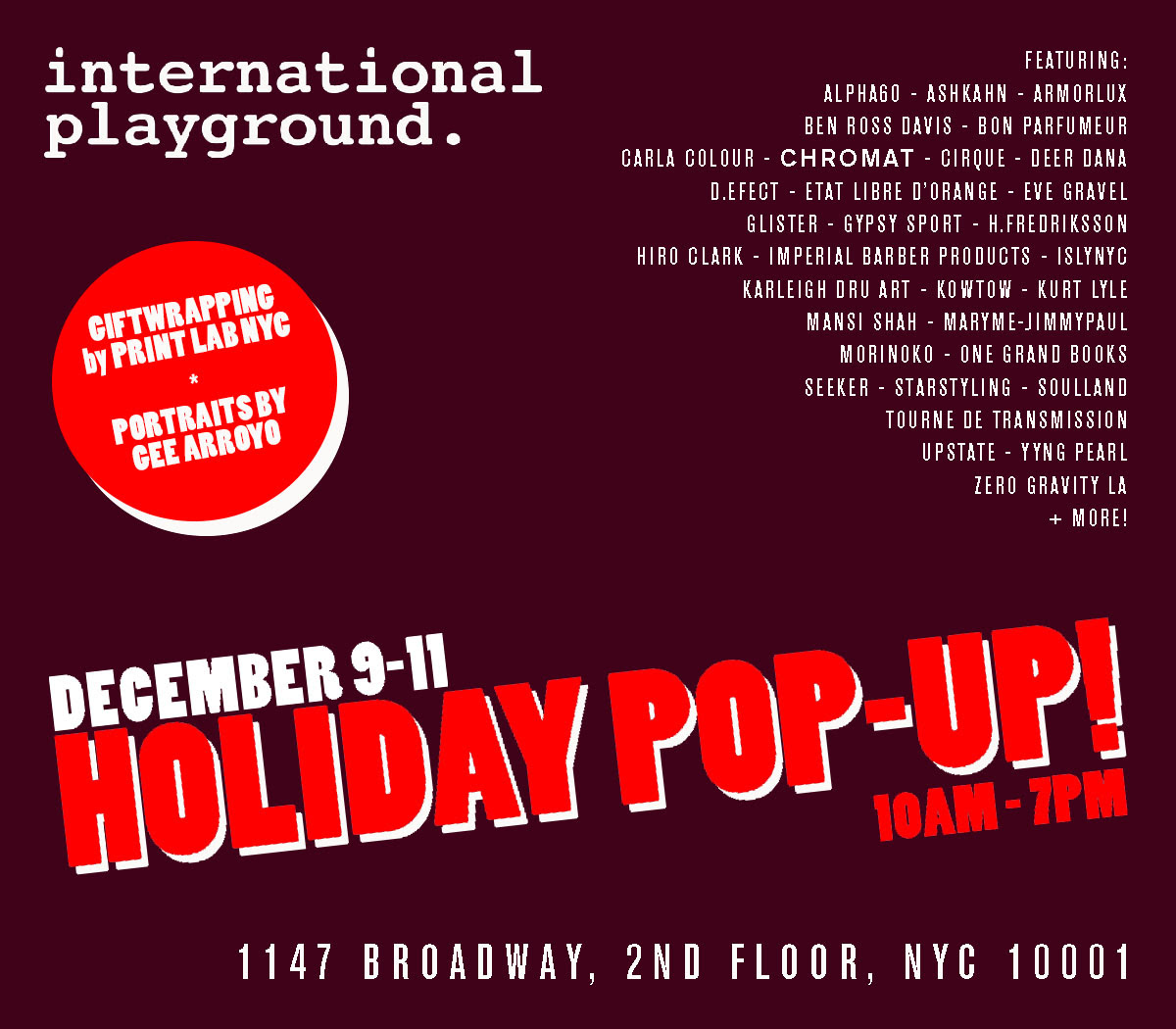 Holiday Pop Up @ International Playground Opens Tomorrow >