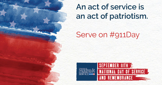 CNCS encourages Americans to volunteer to remember the heroes and victims of September 11th.