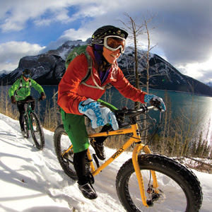 Woman Snow Biking