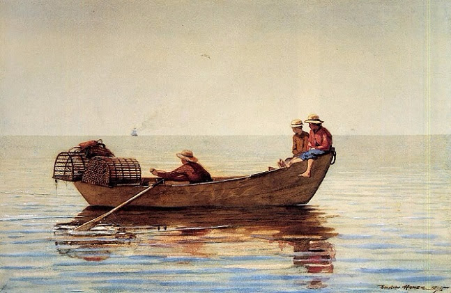 Three Boys in a Dory with Lobster Pots, 1875 (647x421, 277Kb)