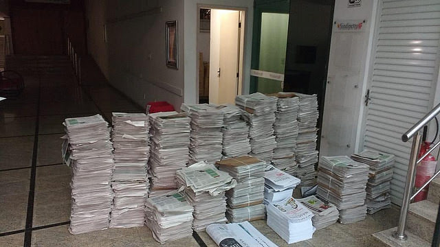 Ejemplares confiscado en un sindicato petrolero en Macaé, municipio en Rio de Janeiro - Créditos: Divulgación