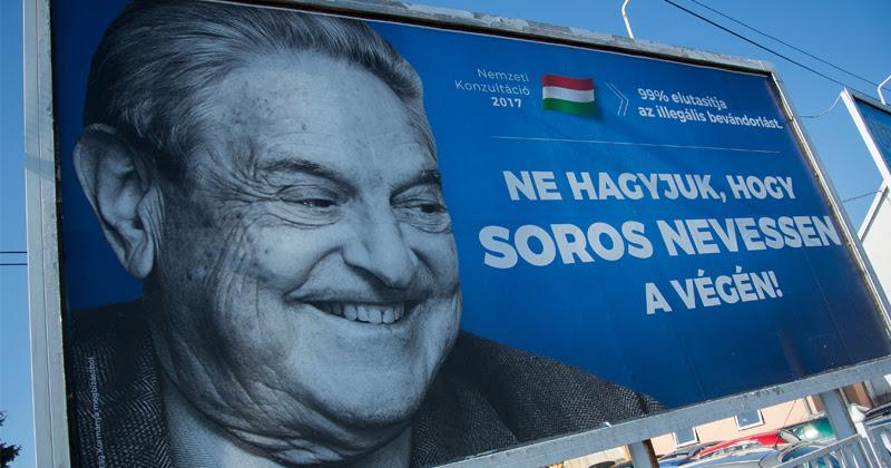 A poster slamming George Soros in Szekesfehervar, Hungary