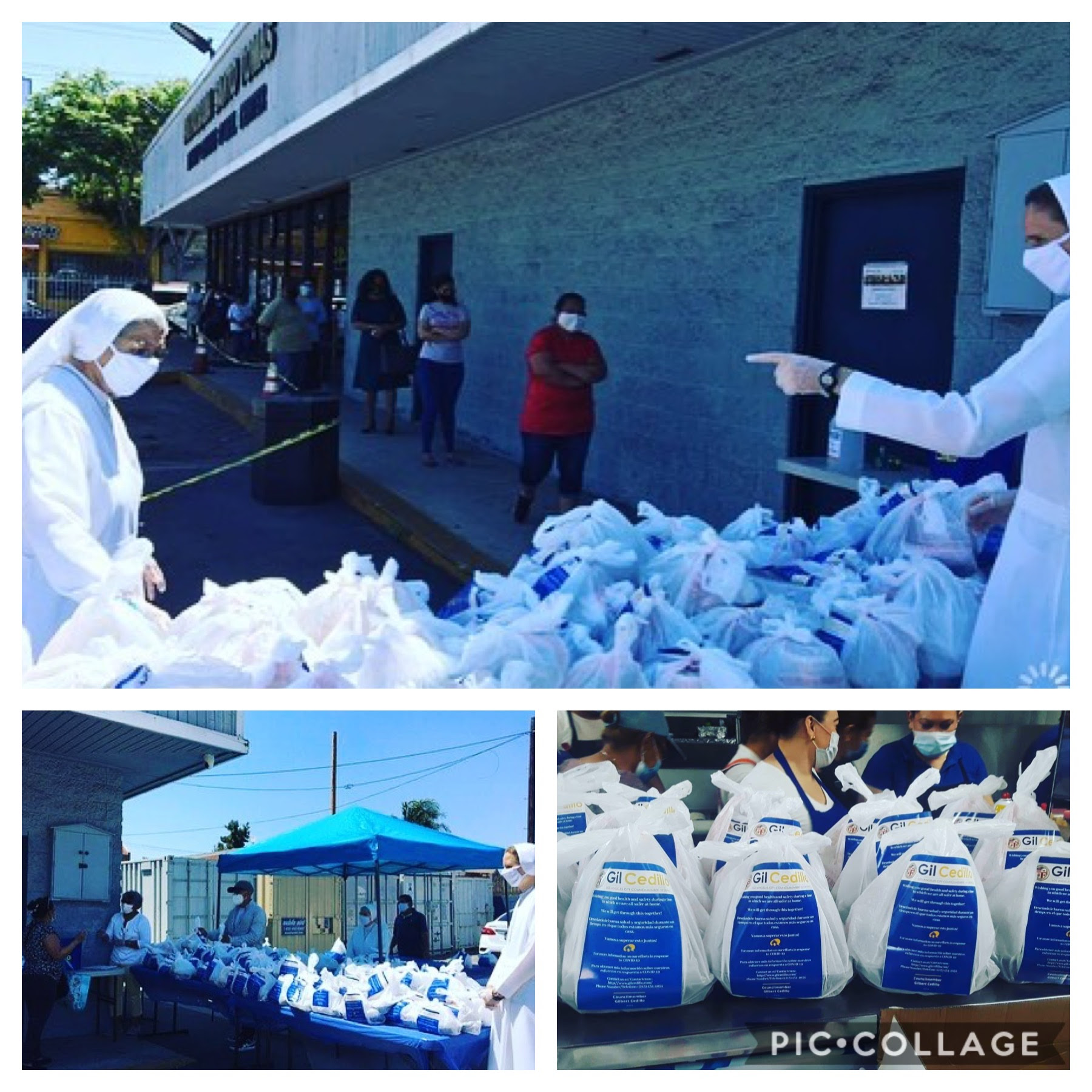 St Thomas the Apostle & LANI distribute La 27 Restaurant Meals in Harvard Heights 5-11-2020 COLLAGE