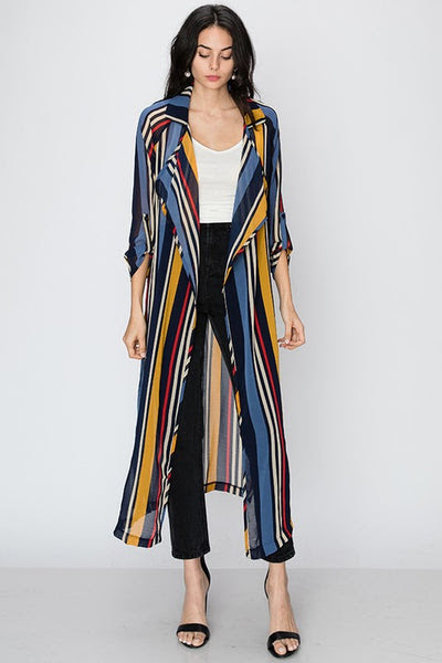 Stripe shawl collar longline blazer with tie