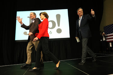Former President George W. Bush and his wife, Laura, at a campaign rally in North Charleston, S.C., in February for his brother, Jeb Bush.