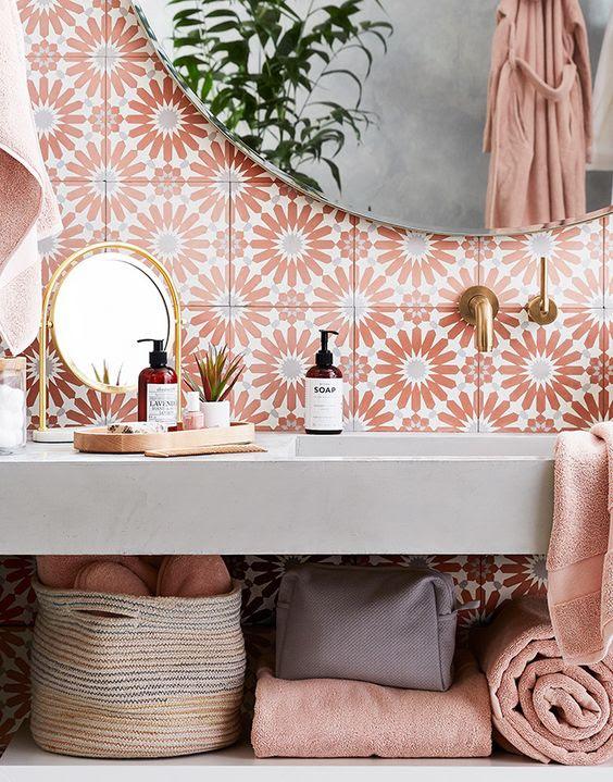 | tile inspo | bathroom tile | backsplash ideas | home decor | coral | color palette | bathroom reno |