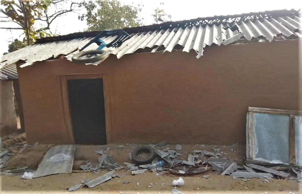 Podiya Tati's damaged house in Chhattisgarh state, India. (Morning Star News)