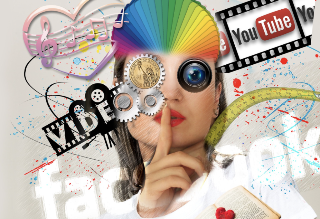 Collage with the words ''YouTube,'' and ''Facebook''