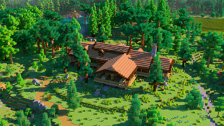 screenshot of a log cabin built in our Online Summer Camp: Minecraft Edition