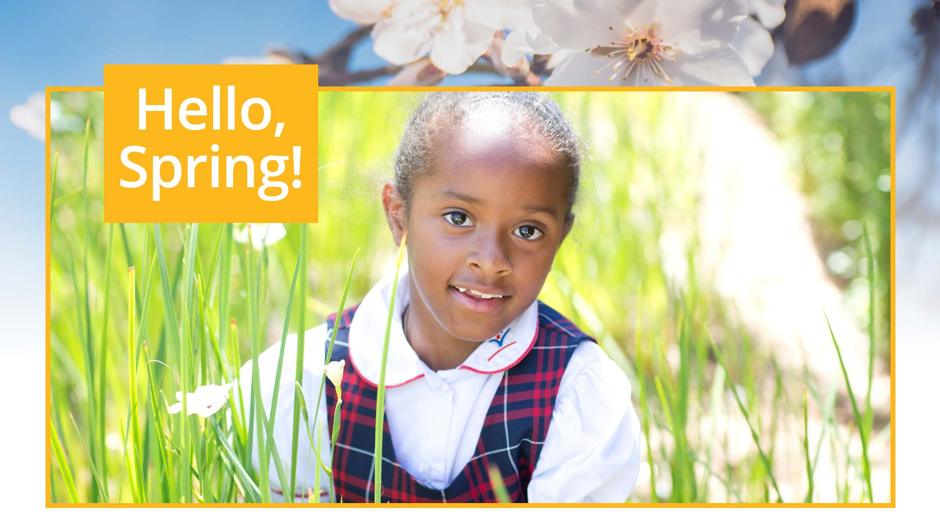 Hello, Spring - a girl in a DENNIS school uniform welcomes Spring
