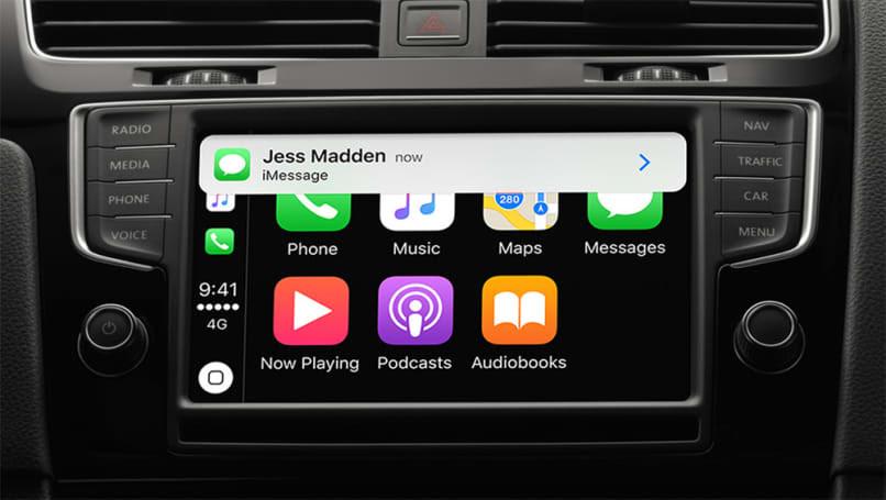 The Apple CarPlay home screen.