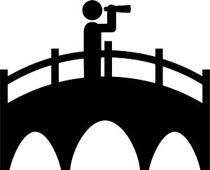 illustration of person crossing a bridge