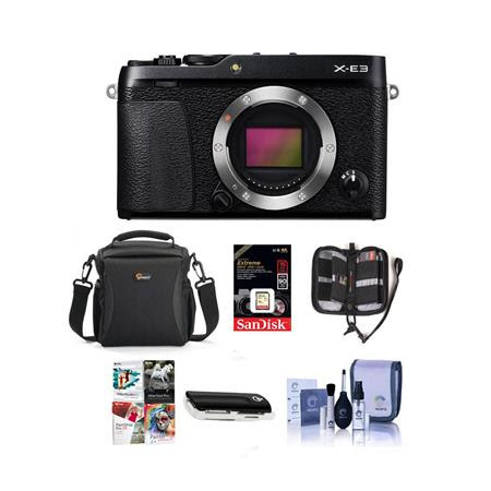 X-E3 Mirrorless Camera Body, Black - Bundle With Camera Case, 16GB SDHC U3 Card, Cleaning