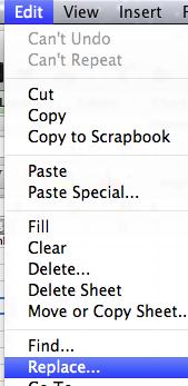Edit > replace menu