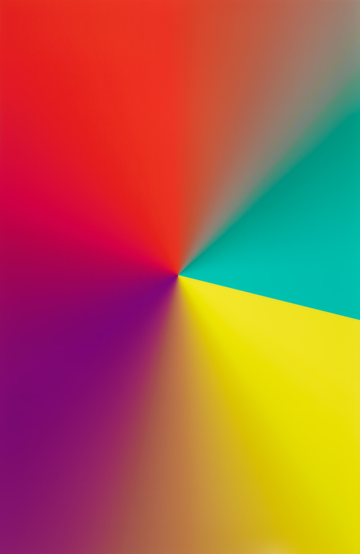 "Cory Arcangel (b. 1978), Photoshop CS: 110 by 72 inches, 300 DPI, RGB, square pixels, default gradient ""Yellow, Violet, Red, Teal"", mousedown y=16450 x=10750, mouse up y=18850 x=20600, 2009."