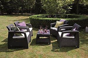 Keter Corfu patio furniture is perfect for outdoor conversational seating areas