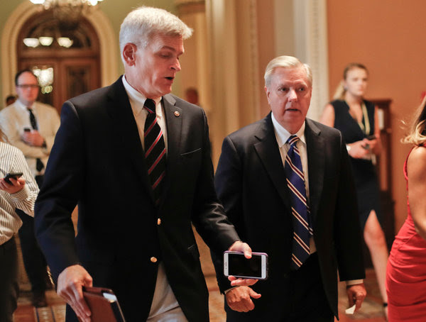 Bill Cassidy and Lindsey Graham in July. The two Republican senators are the originators of the latest effort to repeal the Affordable Care Act.