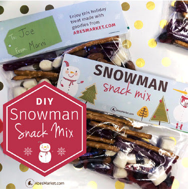 Pack a sweet lunch treat when you pack this DIY Snowman Snack Mix from www.drugstoredivas.net. It's perfect for neighbors' gifts too.