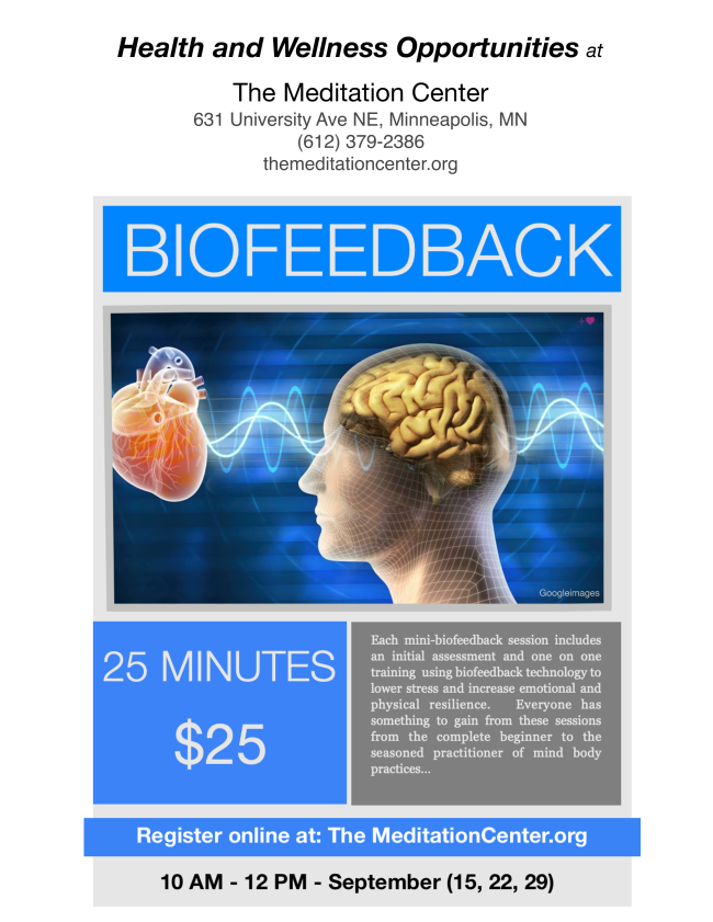 Each mini biofeedback session includes an initial  assessment and one-on-one training using biofeedback technology to lower  stress and increase emotional and physical resilience. Everyone has  something to gain from these sessions, from the complete beginner to the  seasoned practitioner of mind/body practices.