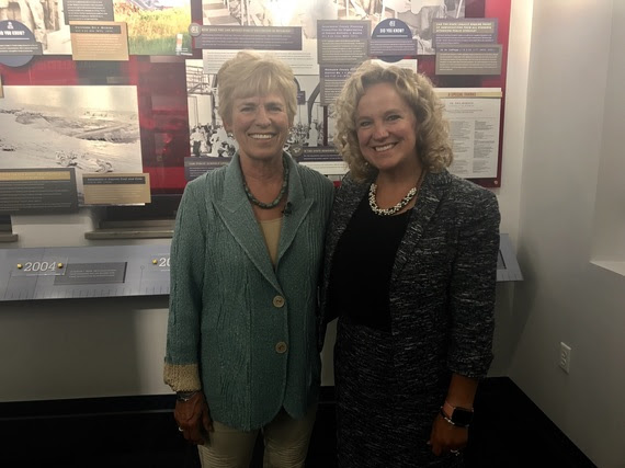 State Superintendent Jillian Balow stands with Former Chief Justice Marilyn Kite in the Judicial Learning Center while filming a PBS special.