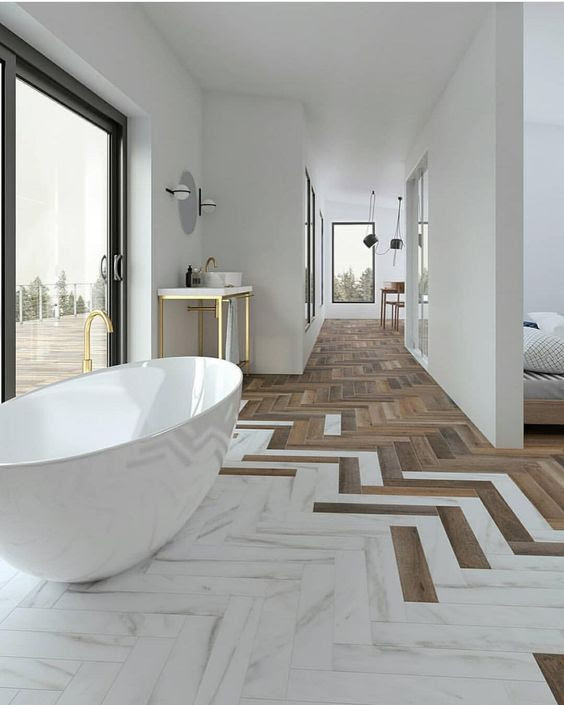 """Mid Century•Boho•Scandinavian on Instagram: """"WOW check out that beautiful floor transition from wood flooring to porcelain 🙌🠼 love it!! 